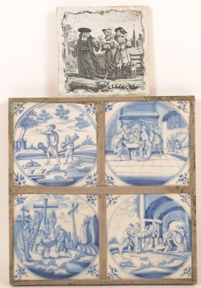 4 Delft Blue & White Tiles W/ Religious Designs.