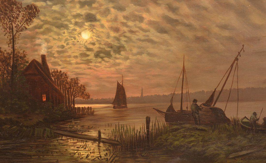 J.B. Sword Oil on Canvas Lake Scene Painting.