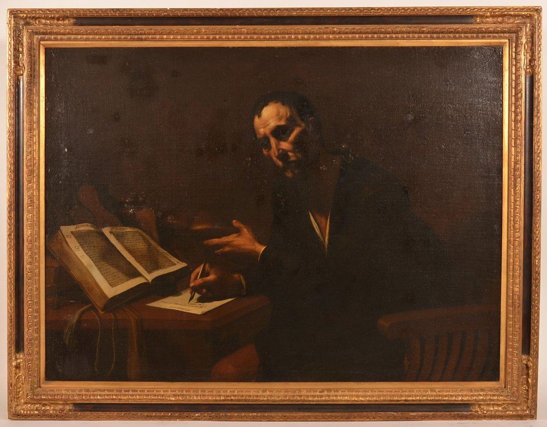 Large Oil Painting of a Man Writing at a Desk.