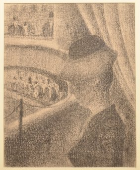 Charcoal Drawing Depicting A Lady At The Opera.