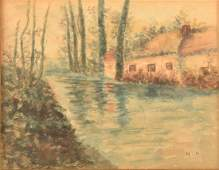 Cottage and Stream Watercolor Painting.