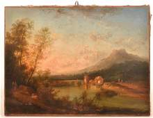 Continental 18th Cent Oil landscape Painting