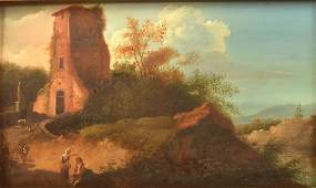 Continental Oil on Board Landscape Painting
