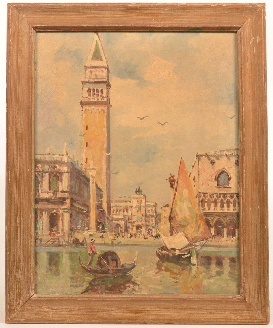 Unsigned Oil on Canvas Venice Scene.