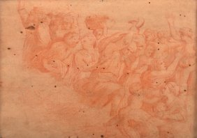 18th Century French School Red Chalk On Paper.