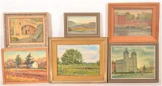 Six J. Cashore Oil Paintings of Buildings.
