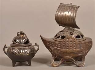 Two Vintage Japanese Bronze Incense Burners.
