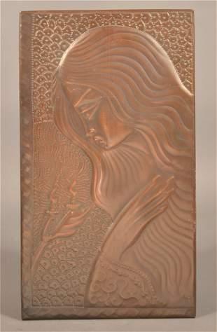 Art Nouveau Hand Embossed Copper Plaque.