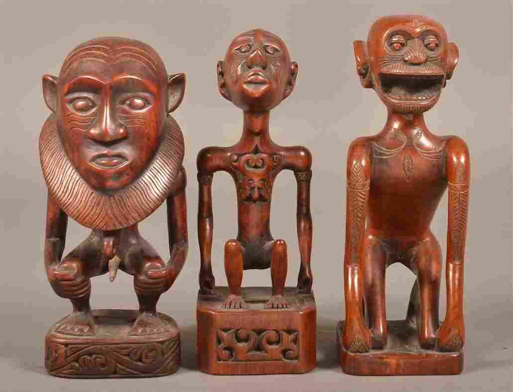 Three Vintage African Figural Wood Carvings.