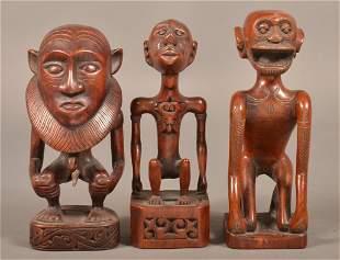 Three Vintage African Figural Wood Carvings.