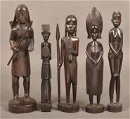 5 Vintage African Ebony Figural Wood Carvings.