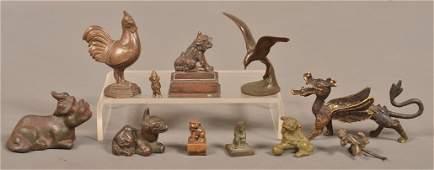 11 Vintage Cast Bronze and Cast Metal Figures