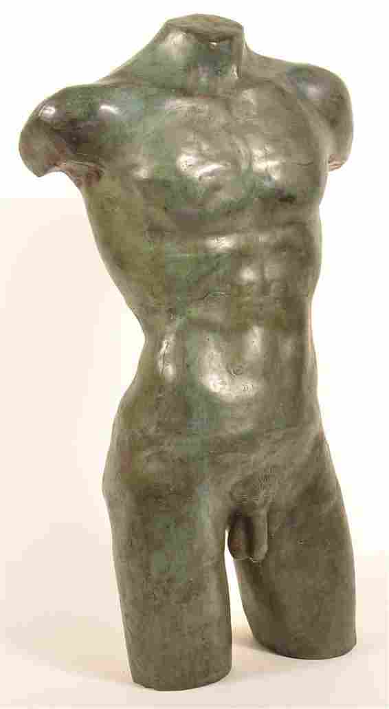 Life Size Sheet Bronze Male Nude Torso.