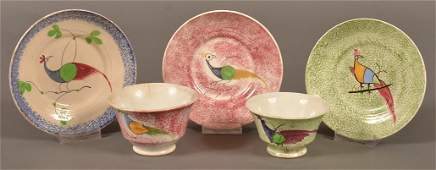 5 Pieces of Peafowl Pattern Spatterware China.