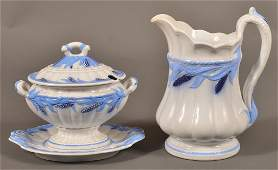 Ironstone Blue Wheat Sauce Tureen and Pitcher.