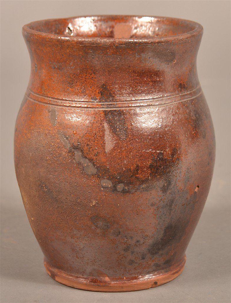 Pennsylvania 19th Century Redware Storage Jar.