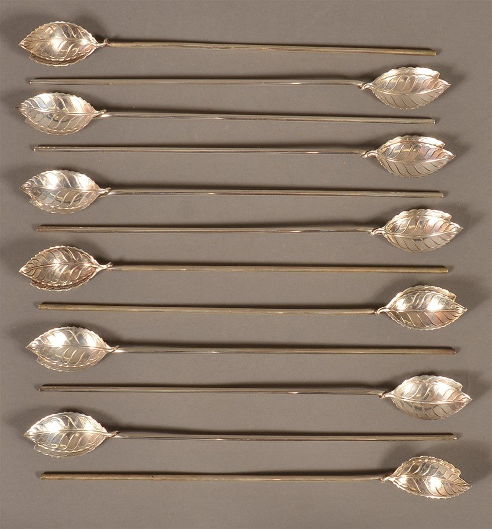 12 Tiffany & Co. Sterling Silver Ice Tea Spoons.