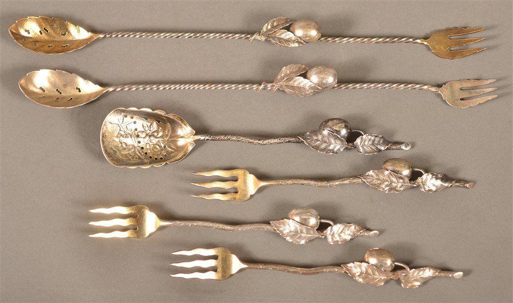 6 Gorham Sterling Silver Olive spoons and forks.