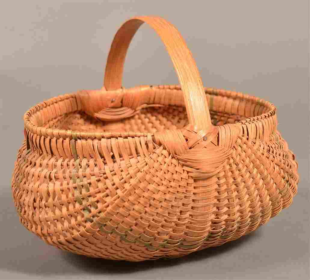 Antique Pennsylvania Oak Splint Egg Basket.