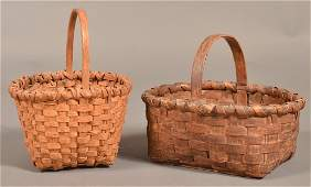 Two Antique Woven Oak Splint Egg or Berry Baskets.