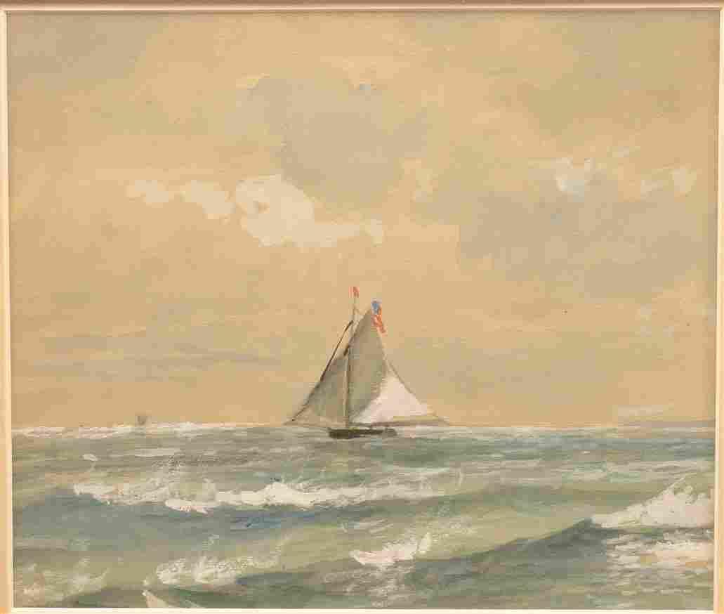 Edmound D. Lewis Watercolor Seascape Painting.