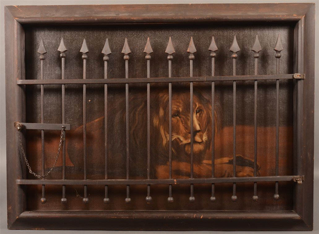 Ben Austrian Oil on Canvas Caged Lion Painting.