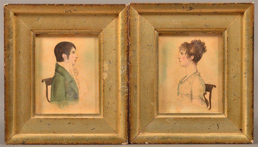Pair of Watercolor on Paper Portrait Paintings.