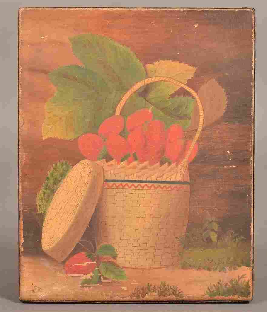 Oil on Canvas Basket of Strawberries Painting.