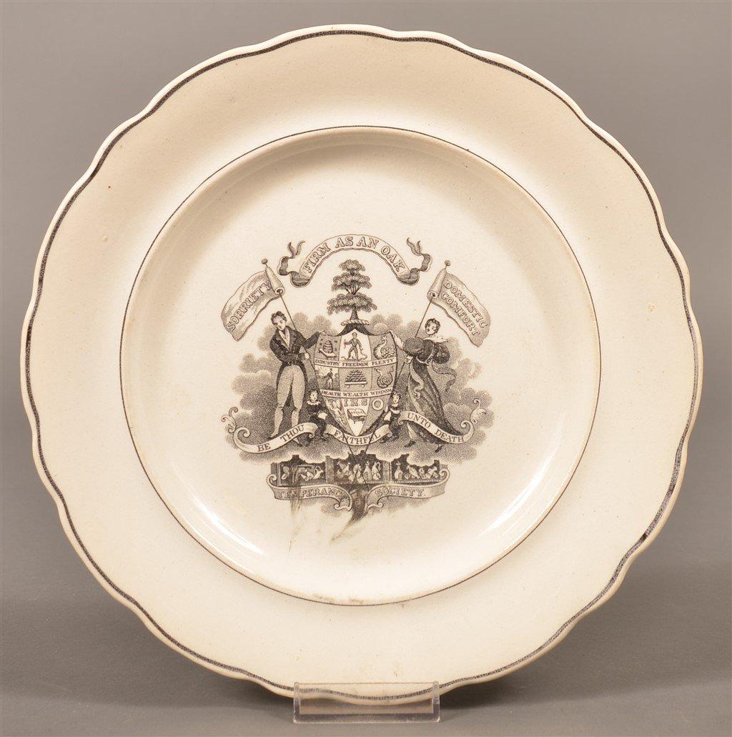 Staffordshire China Temperance Society Plate.