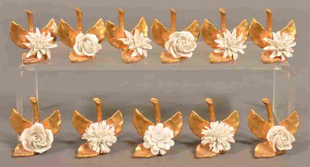 Eleven German Bone China Place Card Holders.