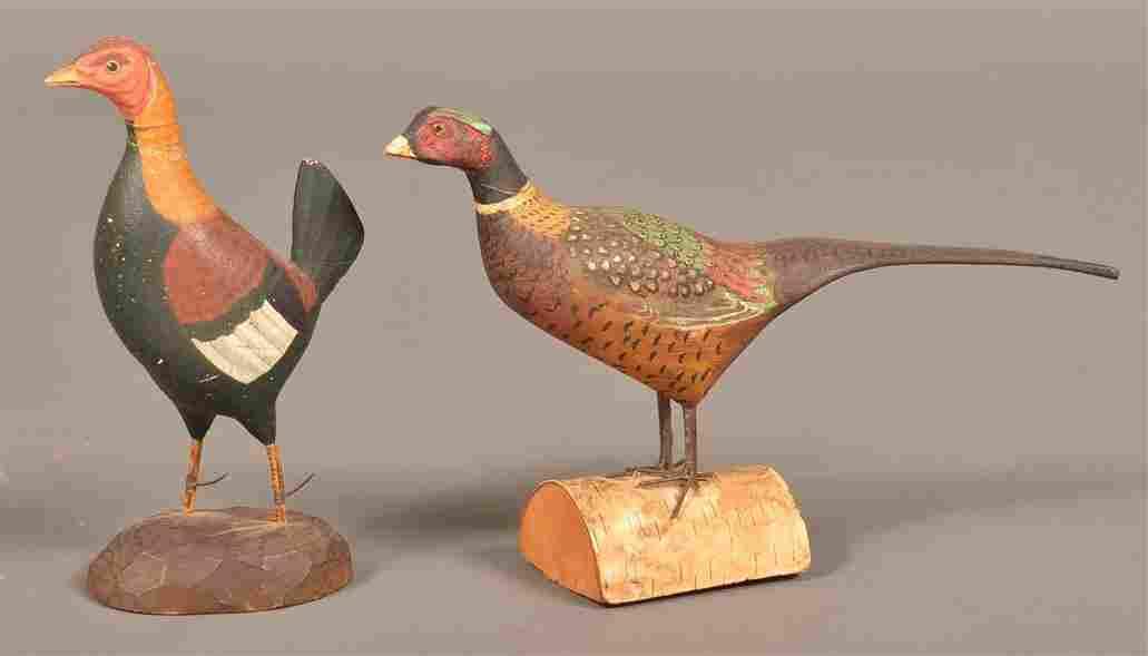 Two Folk Art Miniature Wood Fowl Figures.