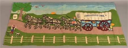 Conestoga Wagon Six Horse Team Hooked Rug.