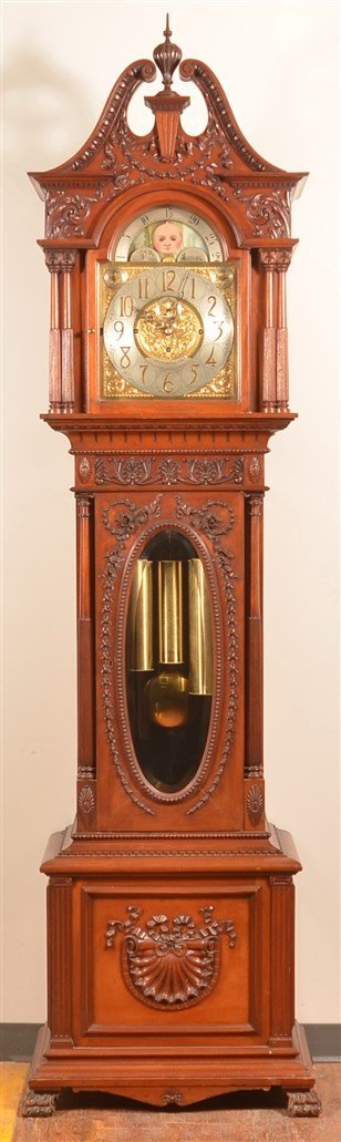 Carved Mahogany  Victorian Tall Case Clock.