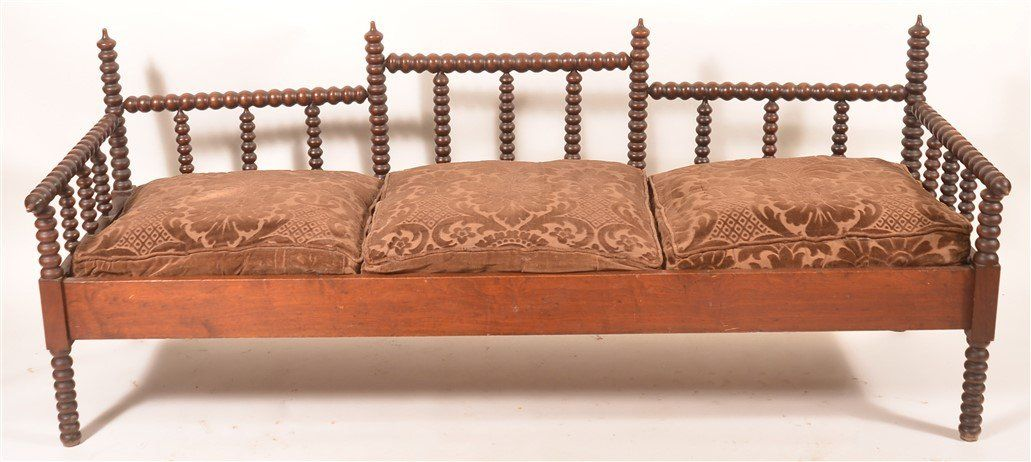 American Victorian Spool Turned Day Bed.