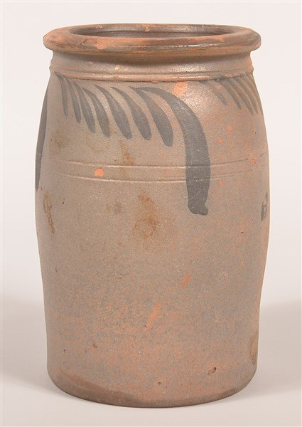Salt Glazed Redware Pottery Storage Crock.
