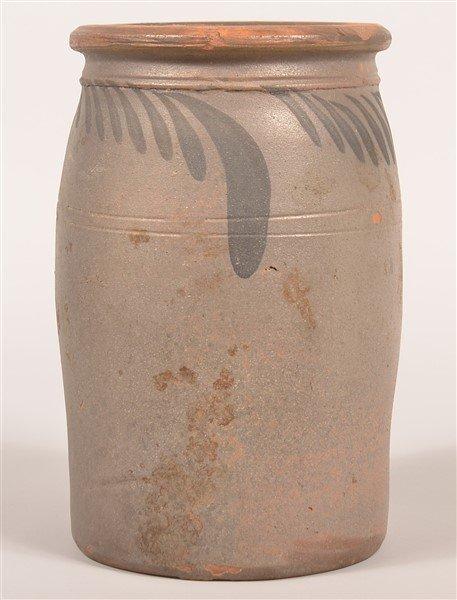 Salt Glazed Redware Pottery Storage Crock. - 2