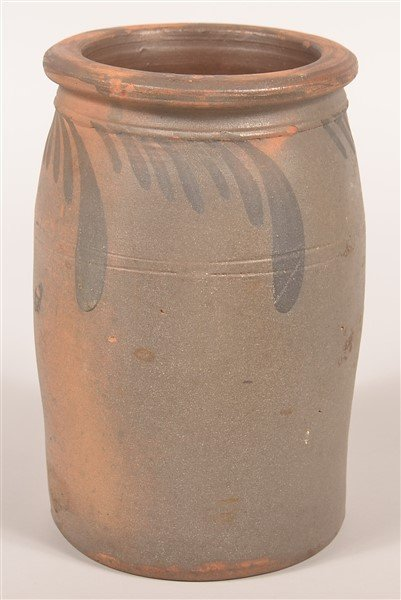 Salt Glazed Redware Pottery Storage Crock. - 3