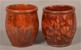2 PA Mottled Glazed Redware Storage Jars