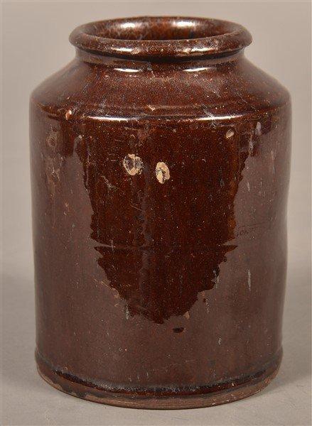 PA Manganese Glazed Redware Storage Jar.