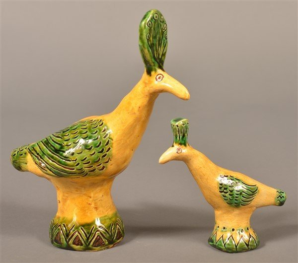 2 Susan Campbell Redware Bird Whistles.