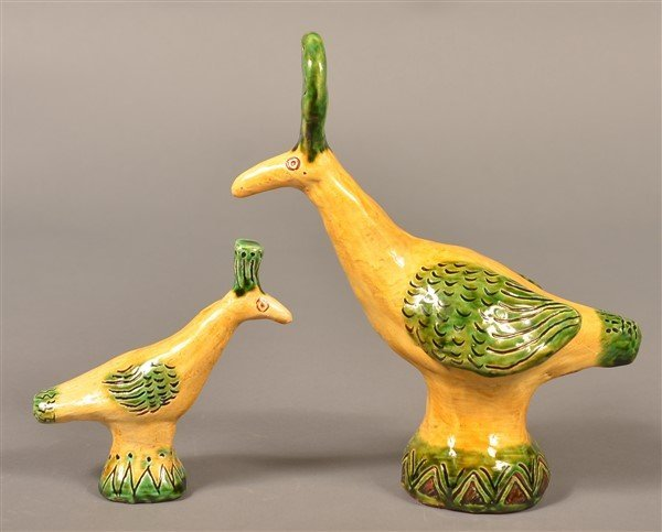 2 Susan Campbell Redware Bird Whistles. - 2