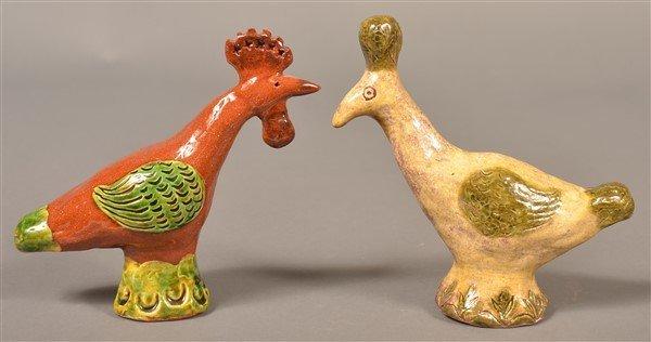 5 Susan Campbell Redware Bird Whistles.