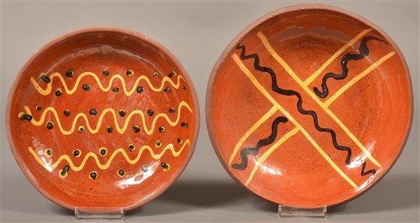 2 Breininger Pottery 1970 Slip Decorated Plates.