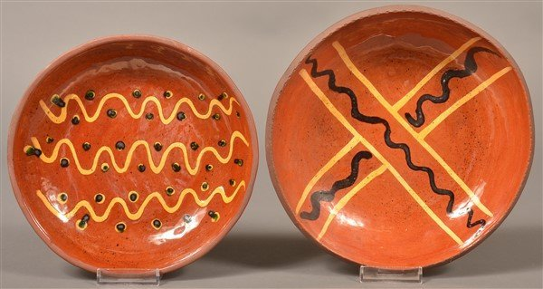2 Breininger Pottery 1970 Slip Decorated Plates.