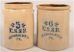 2 Pcs. of E.S. & B. New Brighton, PA Stoneware.