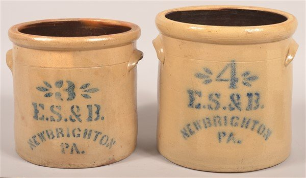 2 Pcs. of E.S. & B. New Brighton, PA Stoneware.