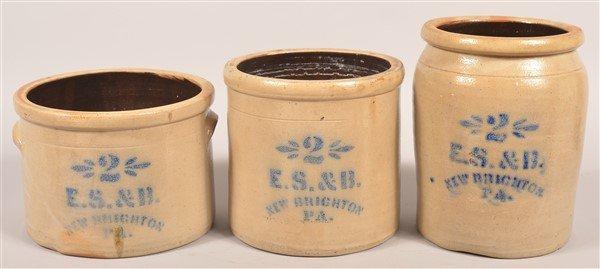 3 Pcs. of E.S. & B. New Brighton, PA Stoneware.
