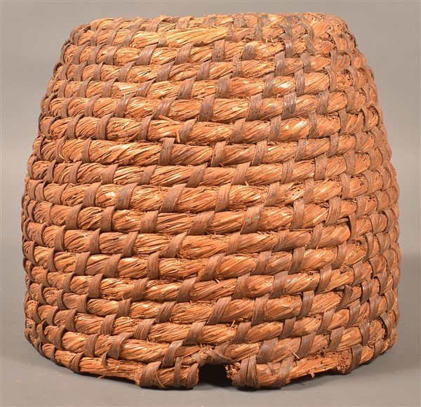 PA 19th Century Rye Straw Coil Bee Skep.