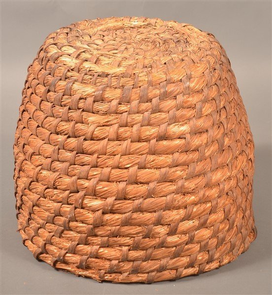 PA 19th Century Rye Straw Coil Bee Skep. - 2