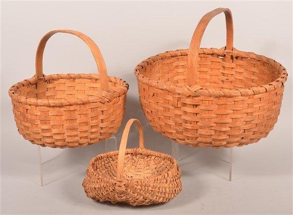 3 Various PA Vintage Woven Splint Baskets.